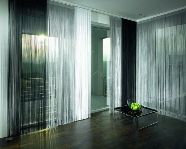 Palette curtains in high-tech style includes shades of metal, gold and bronze shades