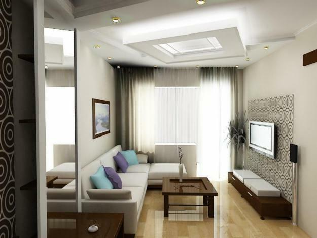 The design of the living room with an aquarium