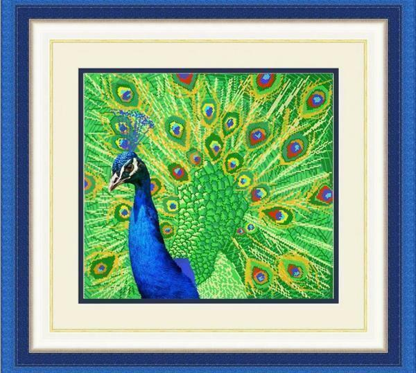 The picture with the image of a peacock, made in the technique of cross-stitching, will always delight the eye with its beauty and bright colors