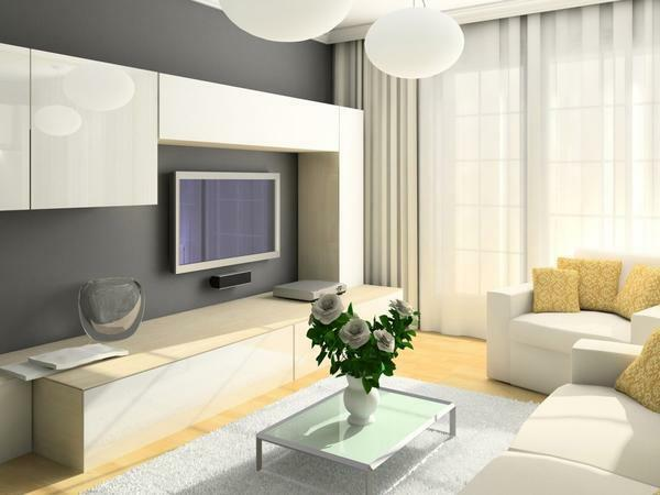 For a small living room, a beautiful and compact modular wall of light color