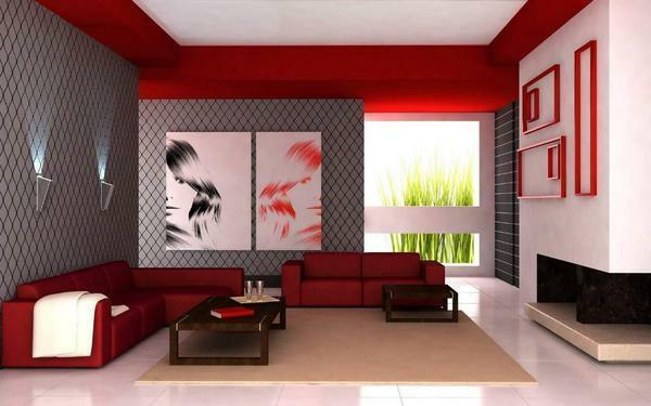 Many people prefer to choose a red and white combination for decorating the living room, since such a room allows you to cheer up in a short time