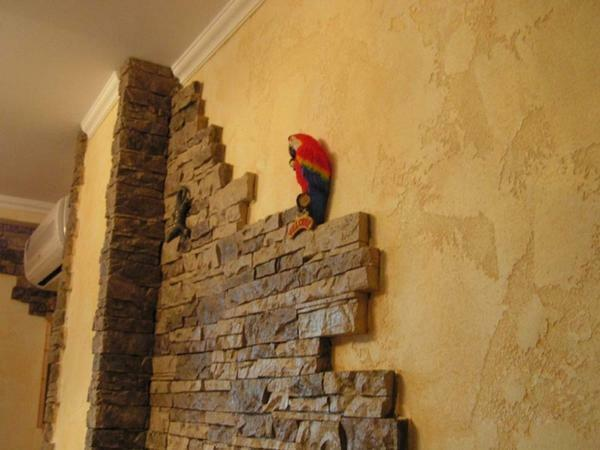 Decorating the hallway with decorative stone and wallpaper photo: brick, stone and bricks