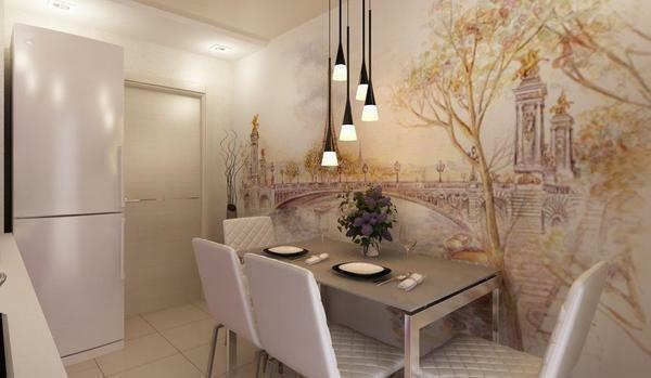 3D wallpaper - the perfect choice for a small kitchen