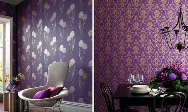 The use of violet wallpaper will help create an atmosphere of peace, tranquility and comfort in the room