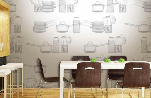 To hide the defects in the layout, you can decorate the room using a combination of wallpaper