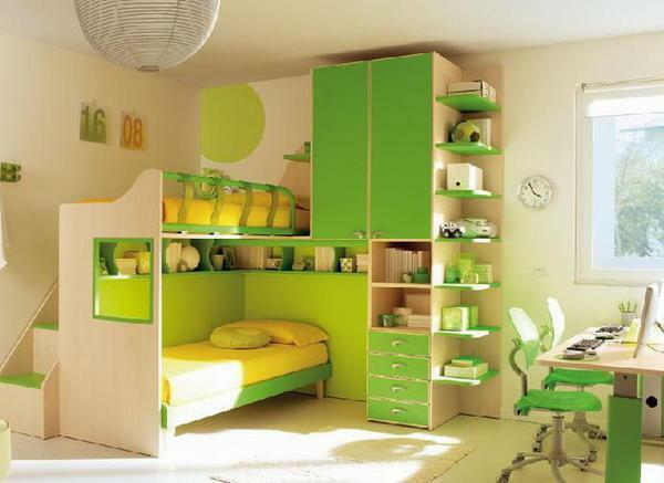 Children's bedrooms for two children photo: two bedrooms, 2 different sex in a small room, two-tiered areas