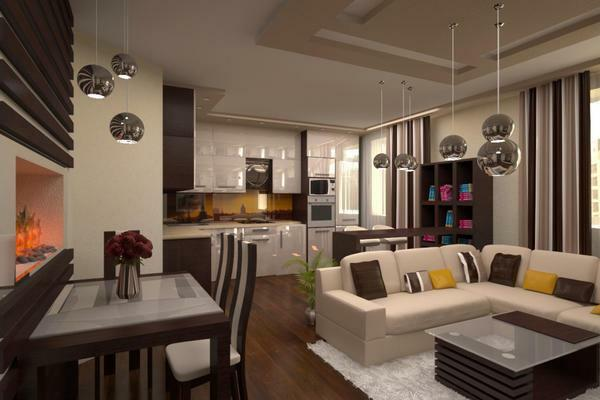 Idea for kitchen with living room photo: interior design, beautiful combination, ideal elite and stylish, elegant