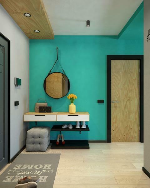 Make the corridor and the hallway interesting and unusual with the help of the decoration of walls with bright colors