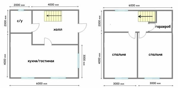 Draft country house with two floors with total area of ​​72 square. Austerity space made do with only one bathroom on two floors, which is not very convenient.