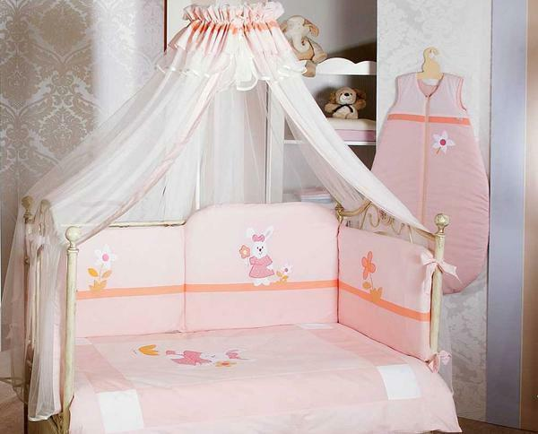 For girls, a canopy of pink color fits well, and for a boy - blue