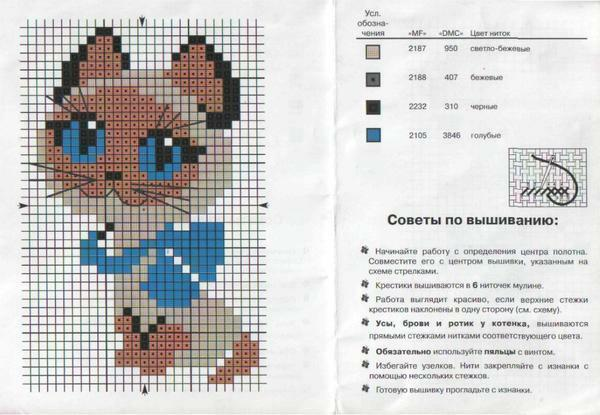 Diagrams of cross-stitch kitten: kittens for free, girl with a basket, wax and BH 1426, playing download flowers