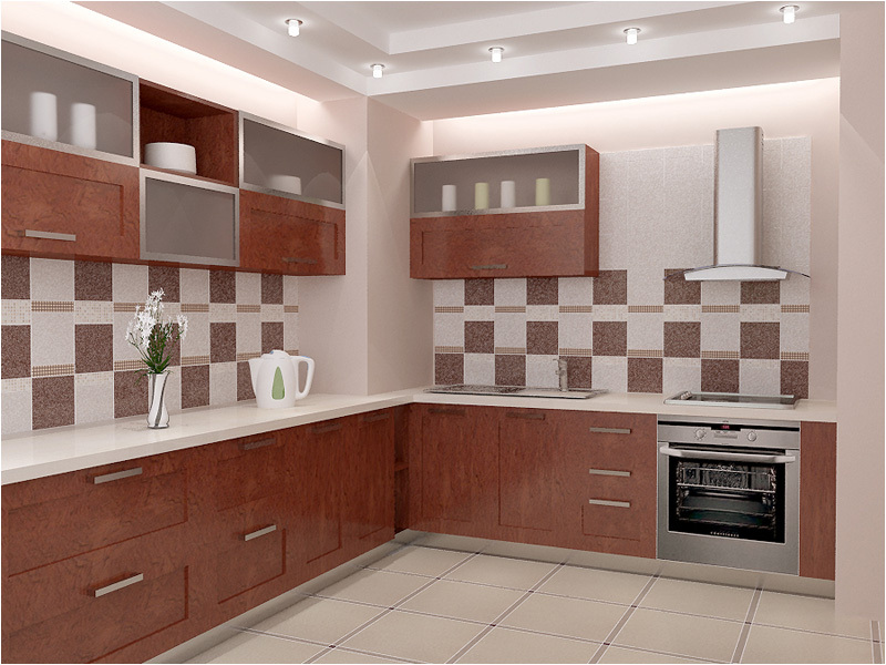 The design of the walls in the kitchen finishes cooking surfaces