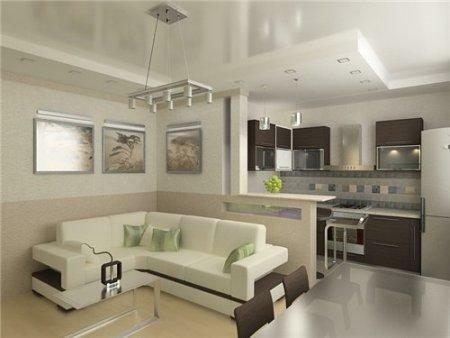 Proper combination of the kitchen with the room will give you more space