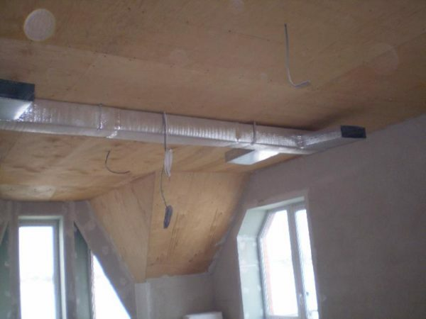 air heating ducts. They will be hidden when installing suspended ceilings.