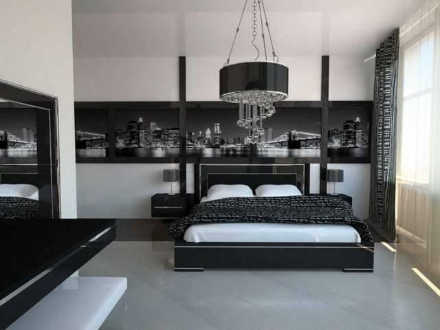 Hi-tech style in the bedroom: design and photo, a suite in the interior, furniture and wallpaper, white curtains, repair and decoration