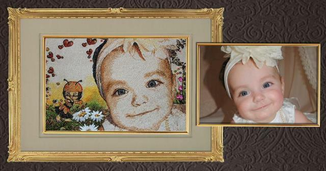 The original portrait, embroidered in photography, will be a pleasant gift for relatives and friends