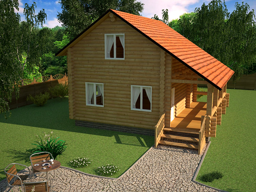 House design with a small terrace under a single roof