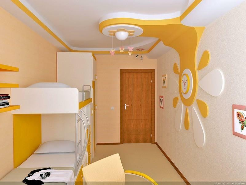 Ceilings in the children's room from plasterboard photo: for boys with light, their own hands two-level