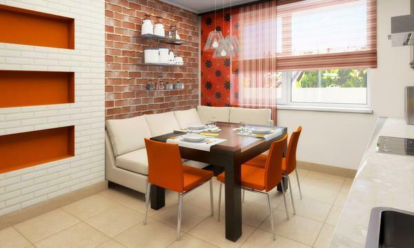 Orange curtains: photo in the interior, kitchen with white and brown, design of the walls, what curtains will fit in the living room