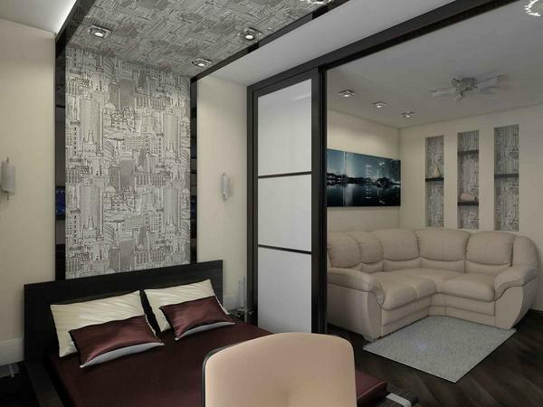 As a separating element between the bedroom and the living room can act as sliding doors