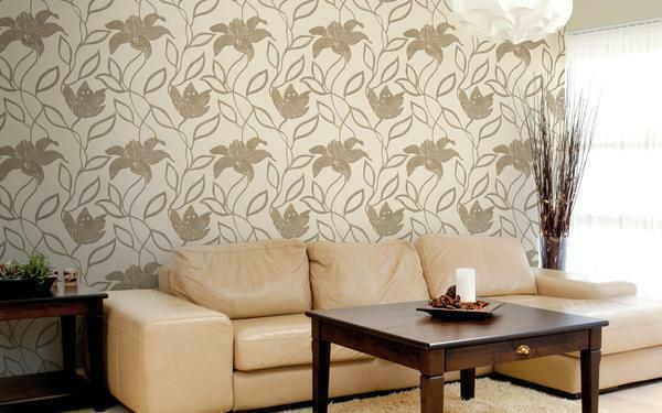 Under beige wallpaper is perfect for furniture brown