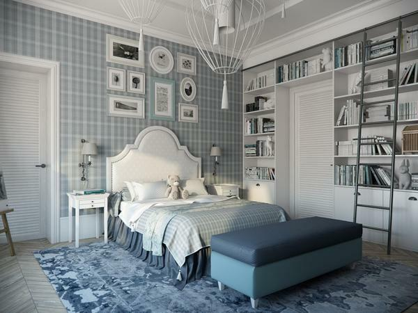 Bedroom in blue colors: brown and tender, design and photo, walls in white and gray, interior with furniture