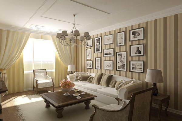 Strips in the interior of a small living room will visually significantly increase the space