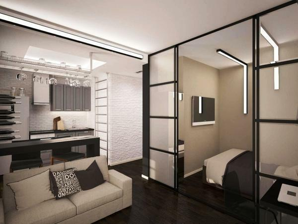 An excellent solution for a small apartment will be a combined living room with a bedroom