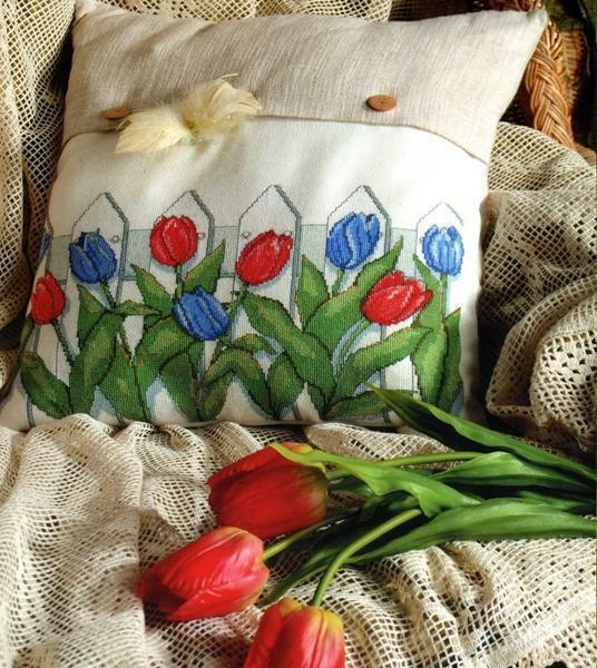 Embroidery tulips cross-stitch will be a wonderful decorative decoration for pillows