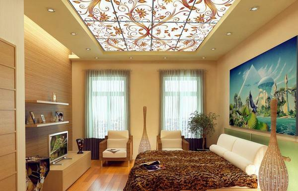 Ceiling in the hall photo: high-handed, 20 square meters, video, height, how to arrange