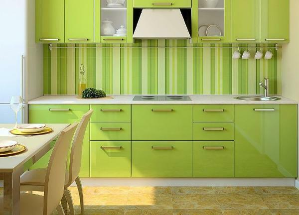 A small kitchen can be visually expanded with the help of original wallpaper