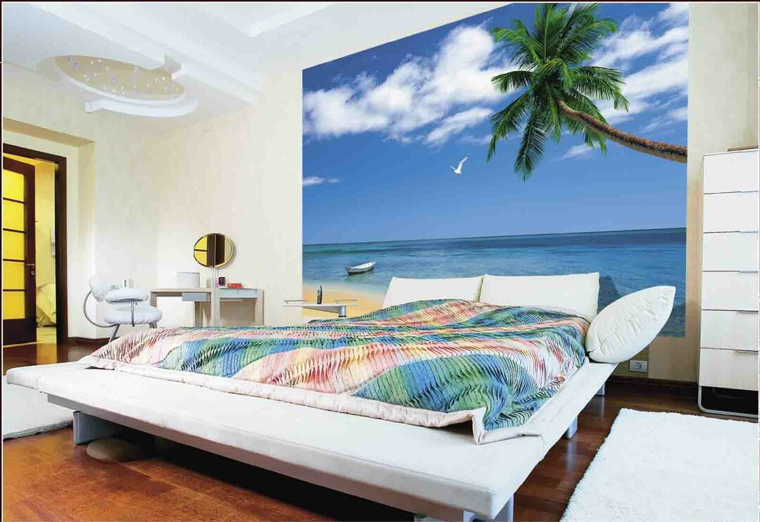Bedroom design with photo wallpapers: gluing technology wallpaper, interior in red