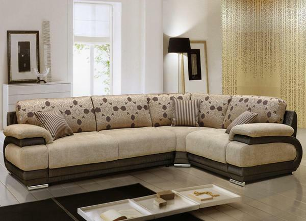 Simple pillows and comfortable seats in the corner furniture for the living room can be assembled in any configuration