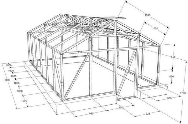 Drawing of a greenhouse made of polycarbonate