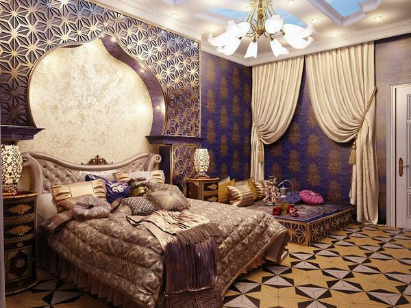 Bedroom in oriental style: interior design, furniture and colors