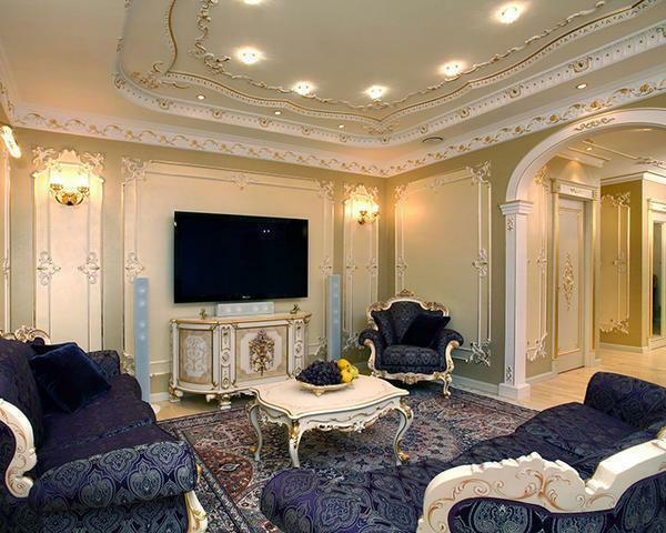 Baroque style room photo: living room design, interior and architecture in Russia, stairs