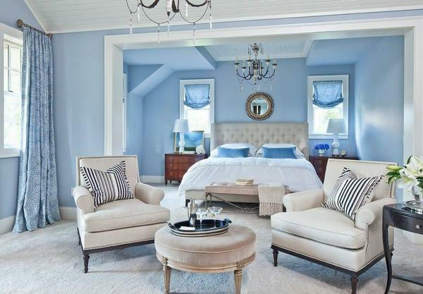 An excellent option for a young girl will be a gently-blue bedroom with creative elements of decor