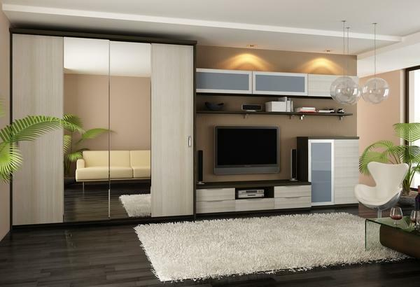 To choose a wardrobe that would organically complement the design of the living room, it is necessary taking into account the interior and features of the room