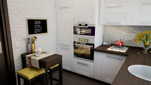Zoning kitchen can be simple: just make a room using dark and light wallpaper
