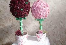 4559д8ак4ба14еае292д2з29яя - flowers-floristics-topiary-from-satin ribbons