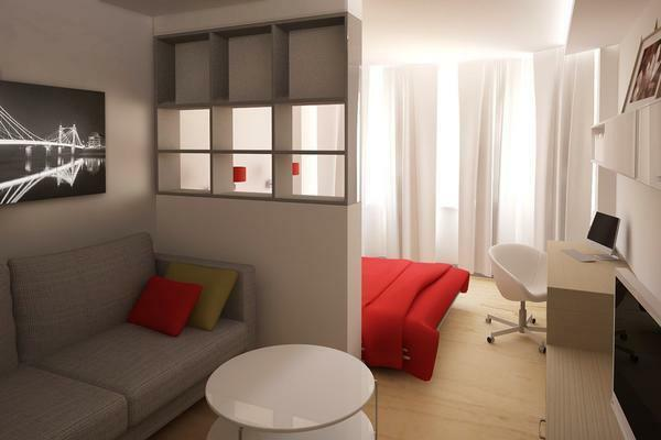 Make an adjacent living room with a bedroom in a 18 sq. Meter apartment not only really, but also simply