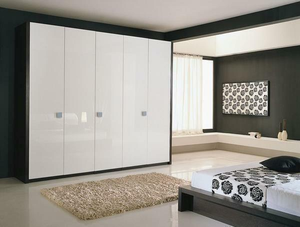 For a bedroom it is best to choose an original cabinet with a glossy surface