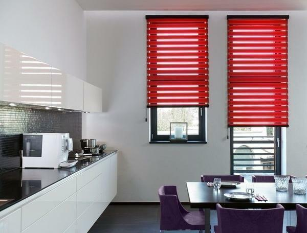 If you feel that depression creeps up to you, then choose roller blinds day-night crimson or scarlet