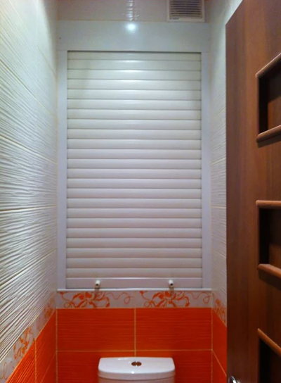Blinds in the toilet will help mask the pipes and other structures