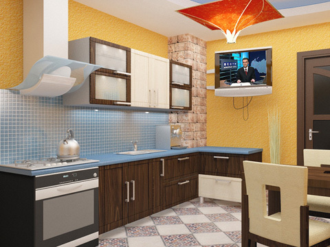 Kitchen design with their own hands: repair school finishing small dining room