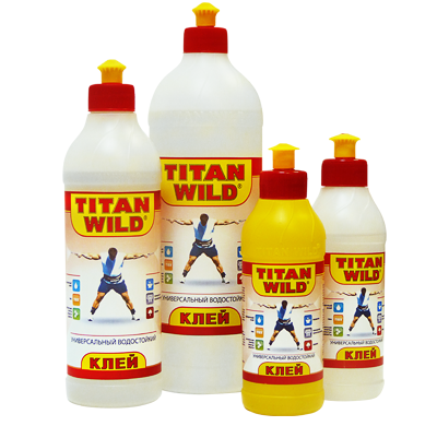 "Examples of different containers glue ""Titan Wilde"""