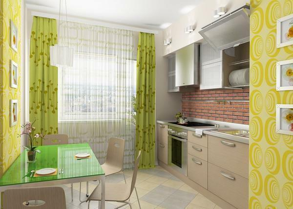 Green curtains: photo of kitchen interior, living room in light green colors, olive and pistachio color, emerald