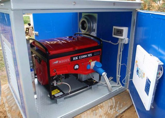 The generator is installed permanently in the box as a backup power source