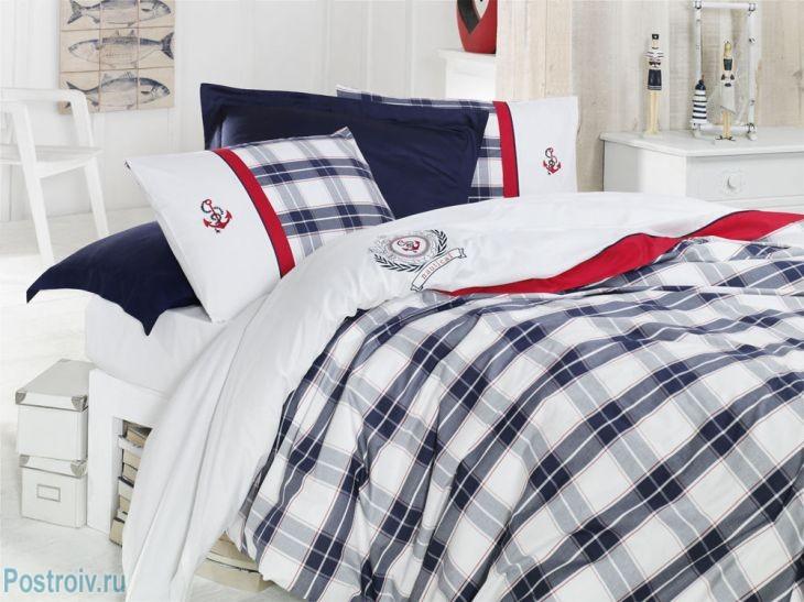 Ontwerp van een slaapkamer in maritieme stijl interieurfoto