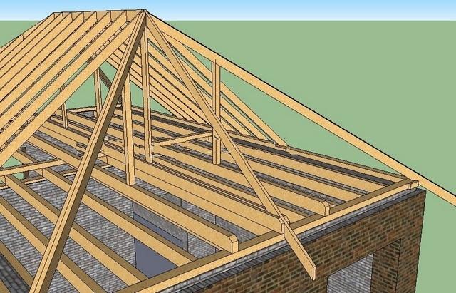 Монтаж четырехскатной крыши своими руками на доме из бруса 64